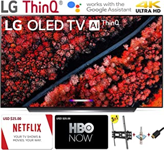"LG Electronics OLED65C9PUA C9 Series 65"" 4K Ultra HD Smart OLED TV (2019) w/$25 Netflix and HBO Now Gift Cards w/3 in 1 Wall Mount kit- Wall Mount, HDMI Cable, TV Cleaning Kit - LG Authorized Dealer."