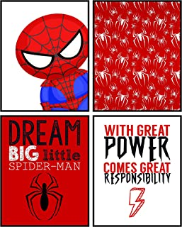Silly Goose Gifts Dream Big Little Spiderman Wall Art Decor Prints (Set of Four)