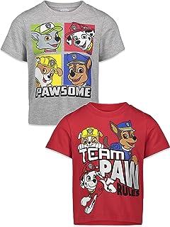 Nickelodeon Paw Patrol Boys 2 Pack T-Shirts Marshall, Zuma, Rubble, and Rocky