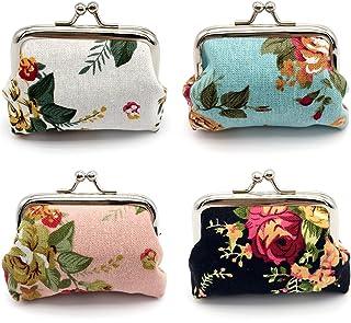 Elesa Miracle 4pc Women Girl Canvas Floral Coin Purse Clutch Pouch Wallet Value Set