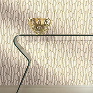 RoomMates Gold and White Stripped Hexagon Peel and Stick Wallpaper , 20.5