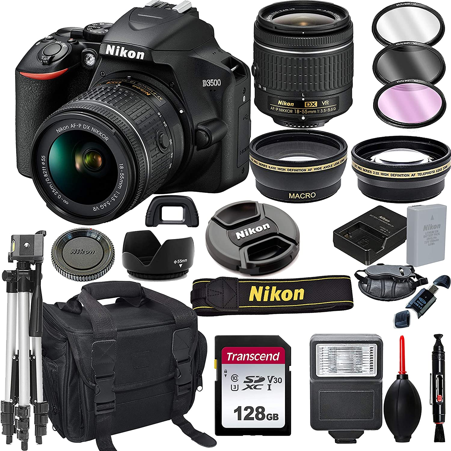 Nikon D3500 DSLR Camera with Inventory cleanup selling Washington Mall sale 18-55mm 128GB Lens + Card VR Tripo