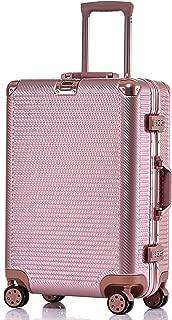 Aluminum Frame Luggage, Durable PC Hardshell Spinner Suitcase TSA Lock Carry On 20 Inch Rose Gold