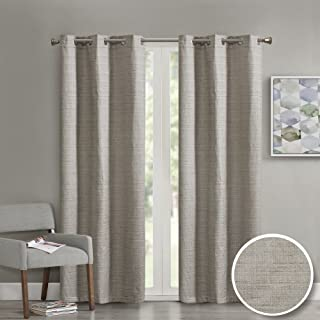 Comfort Spaces Grasscloth Blackout Window Curtain Pair / 2 Pieces Panels Grommet Top Energy Efficient Saving Drapes for Living Room Bedroom and Dorm, 84 inch, Taupe