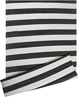 DII CAMZ38834 Stripe Outdoor Rug, 4x6 Black & White