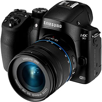 """Samsung NX30 20.3MP CMOS Smart WiFi & NFC Mirrorless Digital Camera with 18-55mm Lens and 3"""" AMOLED Touch Screen and EVF (Black)"""