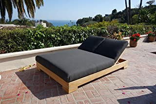 Teak Hollywood Double Chaise Lounger with Sunbrella-Spectrum Carbon Cushions