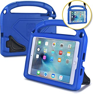 Bam Bino Hero [Shock Proof Kids Case] Kid Friendly Case for iPad Mini 4 3 2 1 | Childproof Cover: Shoulder Strap, 2-Angle Stand, Large Handle (Blue)