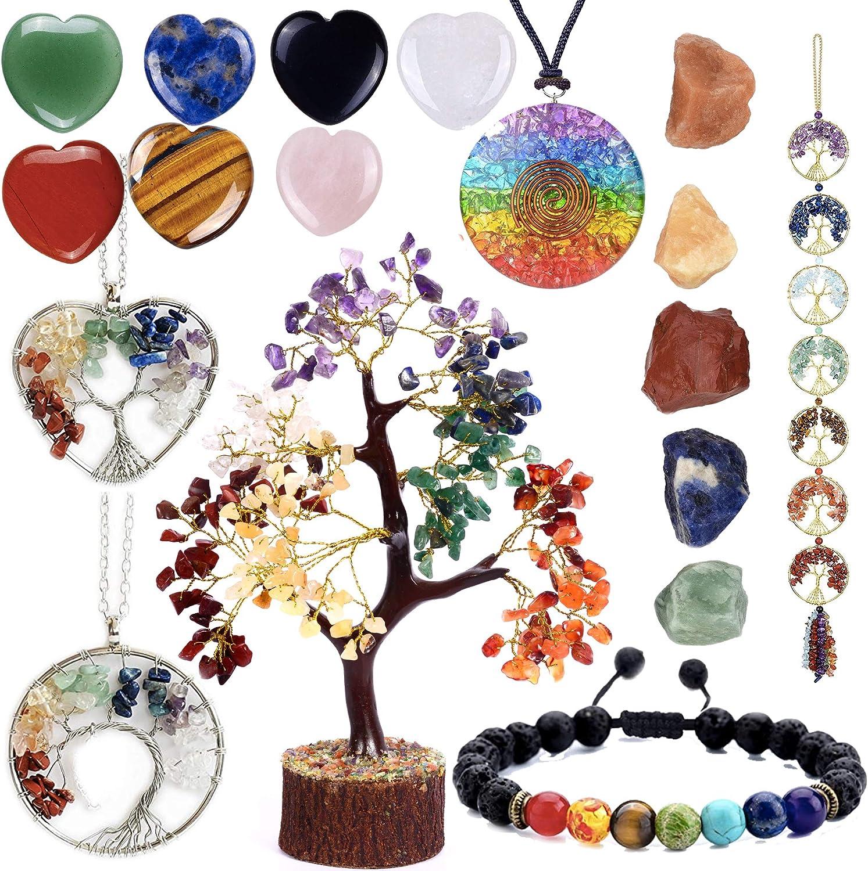 SUBYATH Seven Chakra Now free shipping Gems security Tree Of Heart Life Stone Shape Pendant