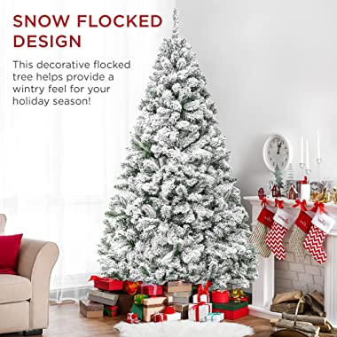 Best Choice Products 6ft Premium Snow Flocked Artificial Holiday Christmas Pine Tree for Home, Office, Party Decoration w/ 92