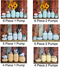 Custom 4, 5 or 6 Piece Painted Mason Jar Bathroom Set with Soap Dispenser Lid – Bathroom Accessories – Rustic Farmhouse Decor – Country Chic Decor – Available in 20 Colors