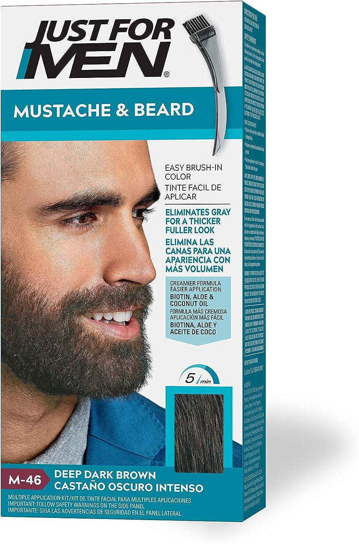 Just For Men Bigote y barba Pincel de gel de color, marrón oscuro oscuro oscuro (el embalaje puede variar)