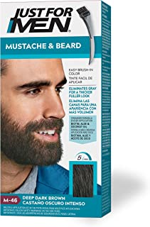 Just For Men Mustache & Beard, Beard Coloring for Gray Hair with Brush Included - Color: Deep Dark Brown, M-46