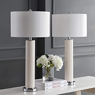 Safavieh Lighting Collection Ollie Cream Faux Woven Leather 31.5-inch Table Lamp (Set of 2)