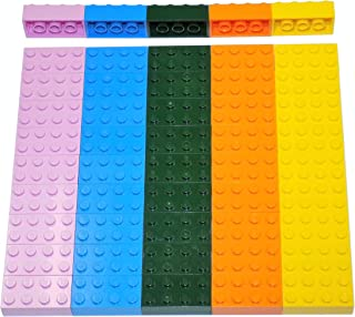 LEGO Parts and Pieces: Assorted 2x4 Bricks (Dark Green, Deep Blue, Orange, Pink, Yellow) - 50 Pieces