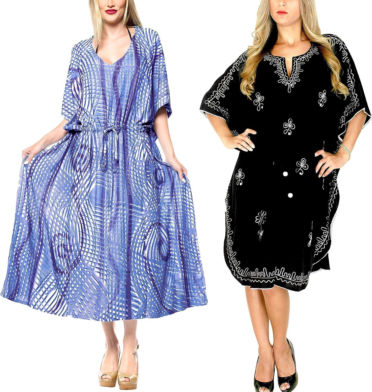 LA LEELA Women's Plus Size Kaftan Loungewear Beach Cover Ups US 16-32W Work from Home Clothes Women Midi Kaftan Casual Long Dress Maxi Cover up Pack of 2