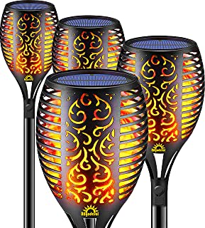 Solar Flame Torch Lights Outdoor, Decorative Pack of 4 piece Lamp with Dancing Flames Torches Landscape, Waterproof Outdoo...