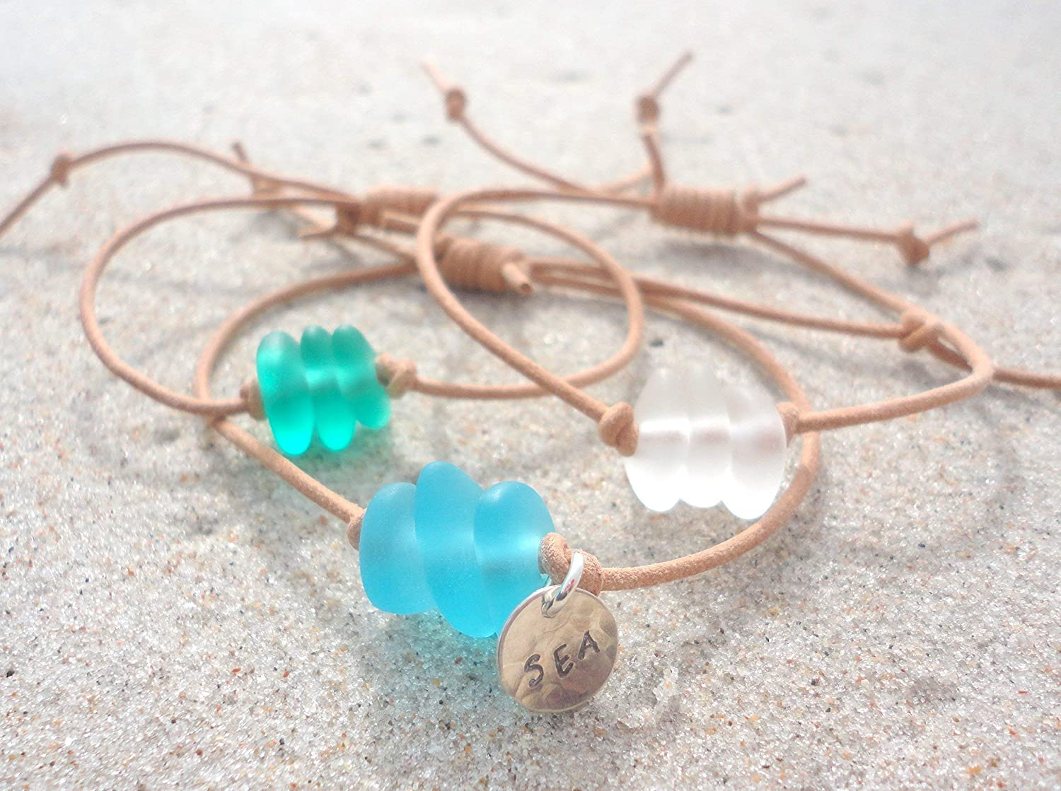 Limited time cheap sale Sea Glass Leather Adjustable Beach Bangle-Handcr Bracelet- Tampa Mall