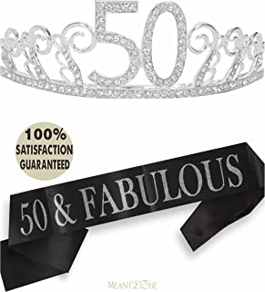 50th Birthday Tiara and Sash, Happy 50th Birthday Party Supplies, 50 & Fabulous Black..