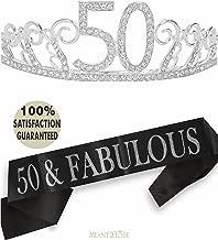 50th Birthday Tiara and Sash, Happy 50th Birthday Party Supplies, 50 & Fabulous Black Glitter Satin Sash and Crystal Tiara Birthday Crown for 50th Birthday Party Supplies and Decorations