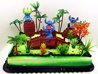 Lilo and Stitch Birthday Cake Topper Set Featuring Random STITCH Figures and Decorative Themed Accessories