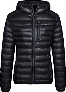 Wantdo Women's Lightweight Packable Down Jacket Hooded Insulated Coat