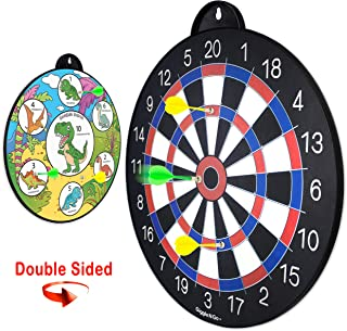 GIGGLE N GO Reversible Magnetic Dart Board for Kids - Excellent Indoor Game, Will Make a Great Gift - Fun Kids Game on Each Side, Just Turn It Around and Play Lots of Different Fun Games.