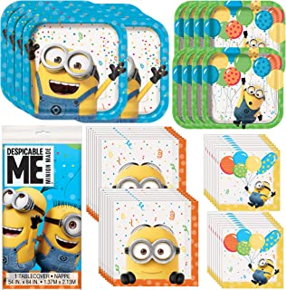 Despicable Me Minion Party Supplies and Decorations | Dinner and Dessert Paper Plates, Luncheon and Beverage Paper Napkins and Table Cover