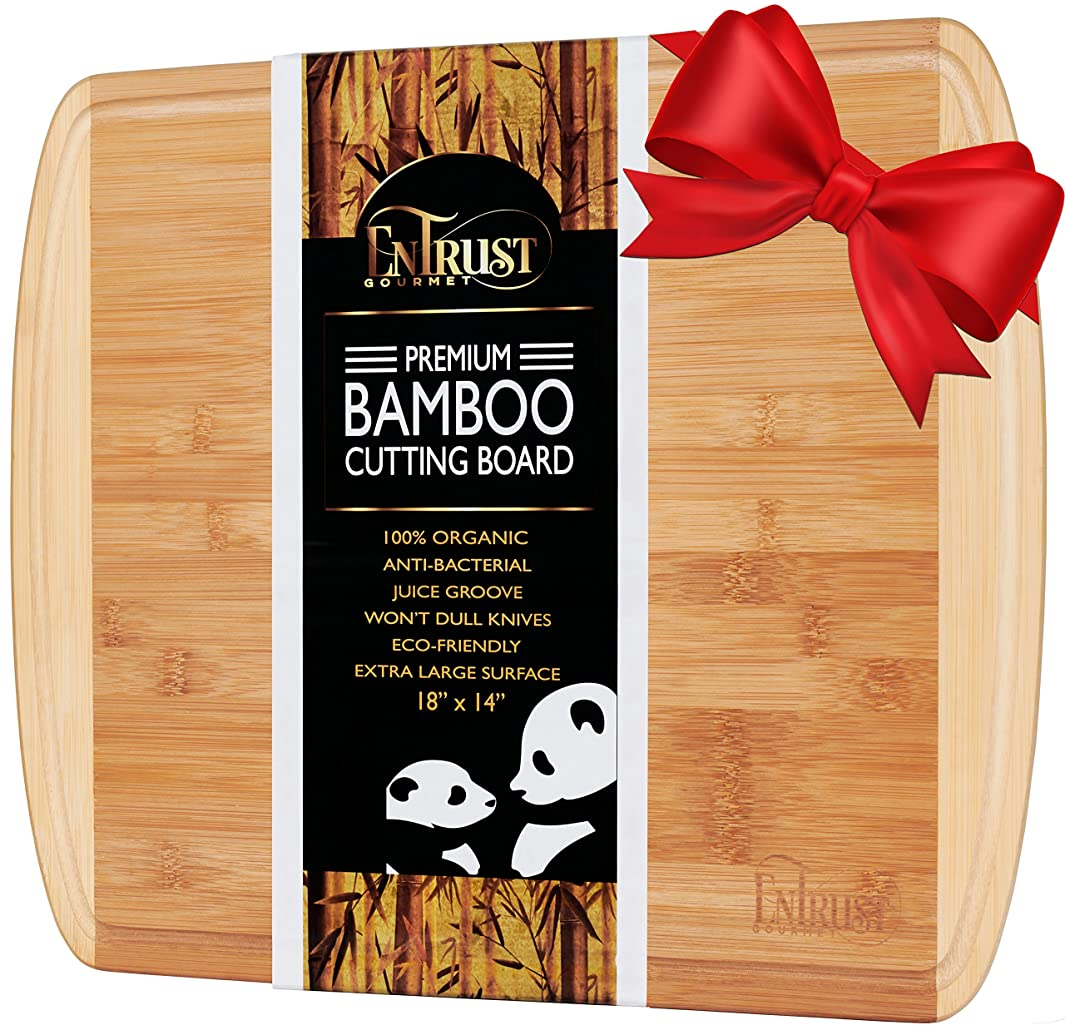 ORGANIC BAMBOO CUTTING BOARD- EXTRA LARGE PREMIUM KING SIZED 18''x 14'', with 2 oz DRIP GROOVE, WARRANTY INCLUDED, Eco Friendly Wood, Perfect Wooden Cheese Board or Serving Platter, NON-SLIP