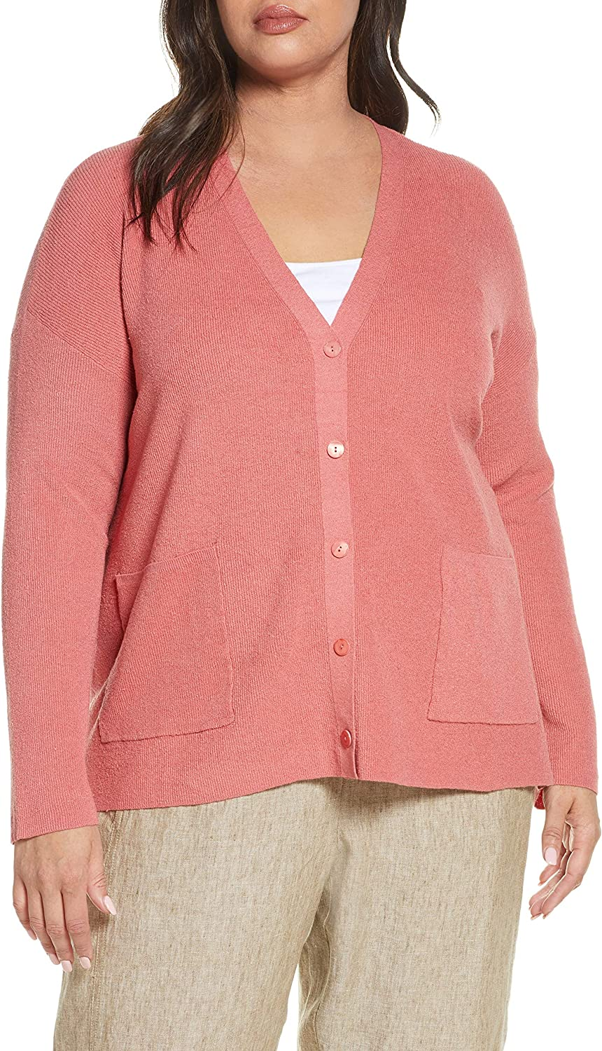 Eileen Fisher Womens Plus Linen Ribbed Cardigan Sweater