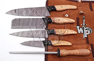WP-007 Custom Handmade Damascus Professional kitchen Chef knives set-5-Piece By World Points (Olive Wood)