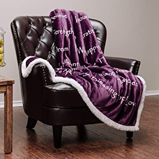 Chanasya Hope Faith Love Joy Inspiring Message Gift Throw Blanket - Perfect Caring Uplifting Thoughtful Personalized Gift for Blessing Peace Prayer for Male Female Best Friend Purple Throw Blanket