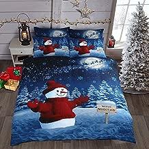 Sparkly Glitter Christmas Winter Wonderland Snowman Red Cotton Rich Bedding Set / Duvet Cover Set (Double)