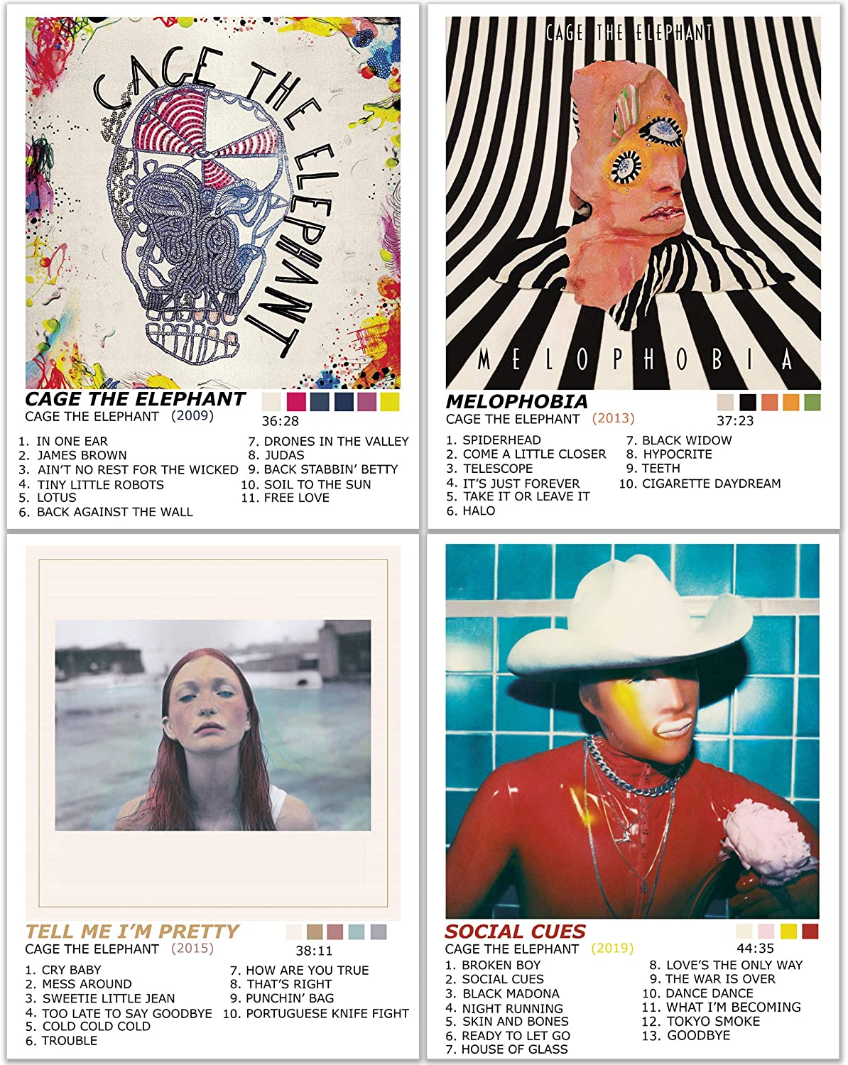 Cage The Elephant Posters Wall Art Decor Prints Photos Pics - Set Of 4 (11x14) Inch