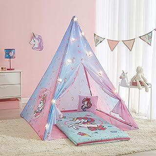 JoJo Siwa 4 Piece Slumber Set with Tee Pee, Sleeping Bag, Pillow and String Lights