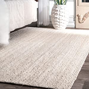nuLOOM Rigo Hand Woven Jute Area Rug, 5' x 8', Off-white
