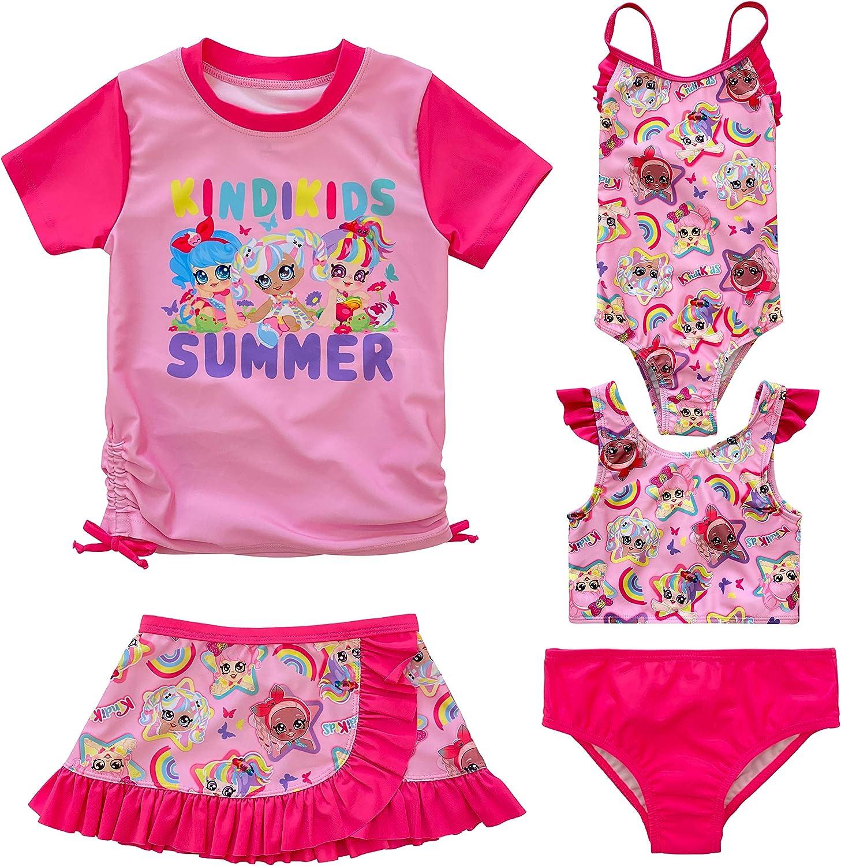 Dreamwave Toddler and Big Girl 5 Piece Swimsuit Set Rash Guard Tankini Skort One-Piece Bottom