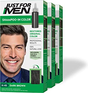 Just For Men Shampoo-In Color (Formerly Original Formula), Gray Hair Coloring for Men - Dark Brown, H-45, Pack of 3 (Packa...