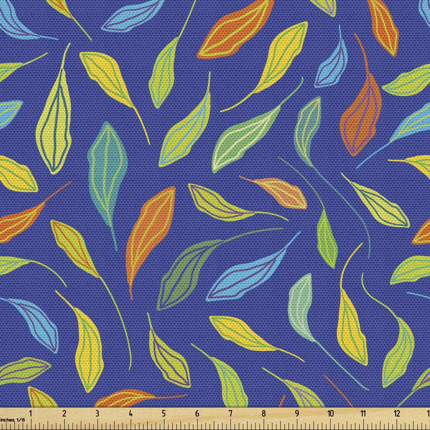 Lunarable Leaves Fabric by Now on sale The Max 74% OFF Blo Yard Nature Colorful Leafage