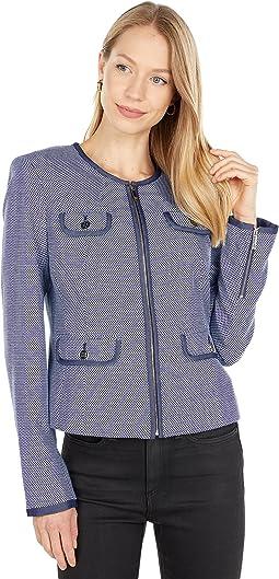 Zip Front Blazer with Pocket Details