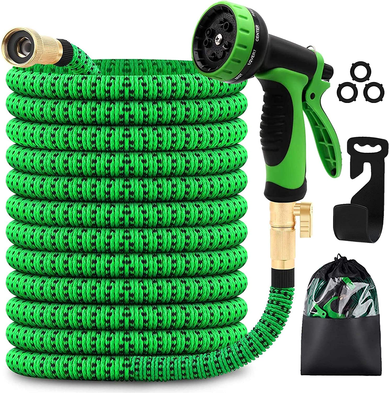 MYDAYS Garden Hose with 8 Function Nozzle, Lightweight Expandable Garden Hose, No-Kink Flexibility, 3/4 Inch Solid Brass Fittings and Double Latex Core (Green, 100FT)