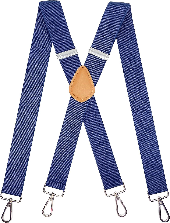 SupSuspen Men's X-Back Suspenders 1.4 In Heavy Duty Braces&4 Hooks on Belt Loops