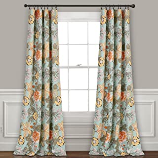 "Lush Decor Sydney Curtains | Floral Garden Room Darkening Window Panel Set for Living, Dining, Bedroom (Pair), 84"" x 52"", Blue and Green, 84"
