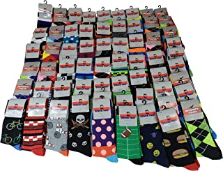 50 Pairs Men Wholesale Lot Assorted Bright Color Fancy Design Fashion Dress Socks