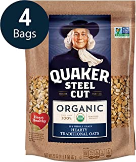 Quaker Steel Cut Oats, USDA Organic, Non GMO Project Verified, 24oz Resealable Bags (Pack of 4)