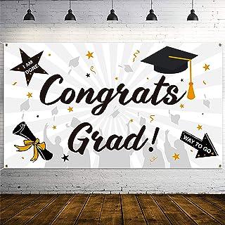 """WATINC Graduation Background Banner 78"""" x45"""" Extra Large Backdrops 2020 Congrats Grad Congratulations I Am Done Diploma W..."""