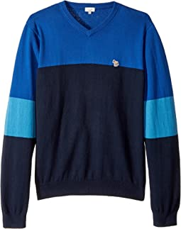 Paul Smith Junior - V-Neck Color Block Sweater (Big Kids)