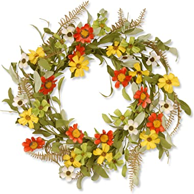 National Tree Company Front Door Spring Wreath Flower Garland 20 Inch Floral Branch Wreath with Red and Yellow Sunflowers