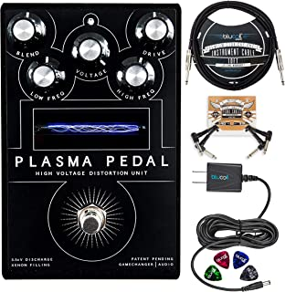 Gamechanger Audio PLASMA Heavy Distortion Pedal Bundle with Blucoil Slim 9V 670ma Power Supply AC Adapter, 10-FT Mono Instrument Cable, 2x Patch Cables, and 4x Guitar Picks