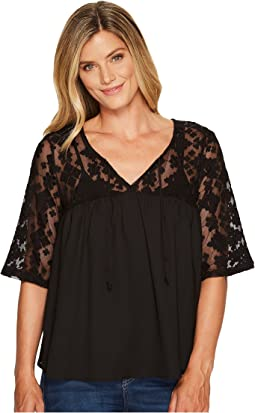 Cruel - 3/4 Sleeve Mesh Lace and Chiffon Top